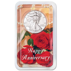 2019 Silver American Eagle in Happy Anniversary Showpak