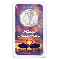 2020 Silver American Eagle in Happy Anniversary Showpak