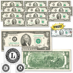 1976 $2 Federal Reserve Note Twelve Districts Set