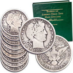 1906-1915 Barber Half Dollar Year Set