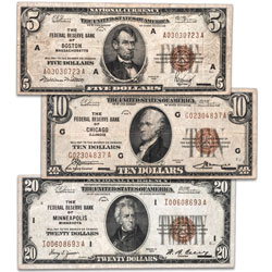 Series 1929 Federal Reserve Bank Note Set ($5, $10 & $20)