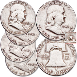 "1949-1954 Complete ""S"" Mint Franklin Half Dollar Set"