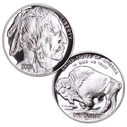 2001-P American Buffalo Silver Dollar with Case, Choice Proof, PR63