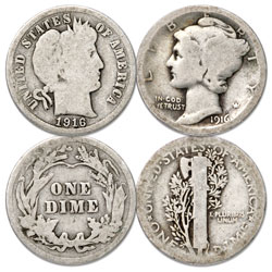 1916 Barber & Mercury Dime Transition Set
