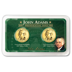 2007 P&D Adams Presidential Dollar in Exclusive Showpak®