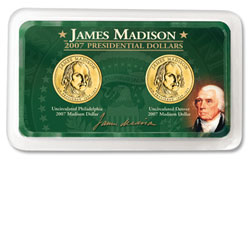 2007 P&D Madison Presidential Dollars in Exclusive Showpak