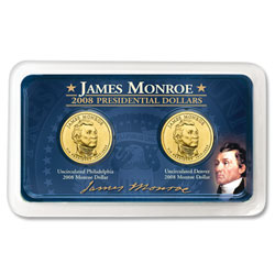 2008 P&D James Monroe Presidential Dollars in Exclusive Showpak