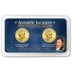 2008 P&D Andrew Jackson Presidential Dollars in Showpak®
