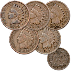 1902-1907 5 Different Indian Head Cents