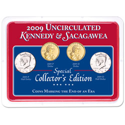 2009 P&D Kennedy Half Dollar & Sacagawea Dollar Set in Showpak