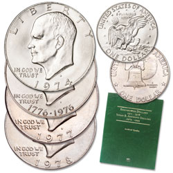 1974-1978 Eisenhower Dollar Set with Folder