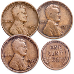 1924 PDS Lincoln Head Cent Set