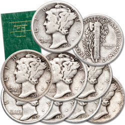 1927-1939 Mercury Silver Dime Set with Folder