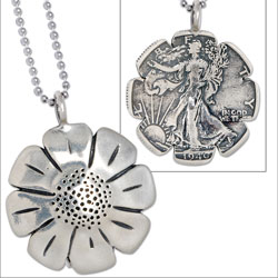 Daisy Liberty Walking Half Dollar Necklace
