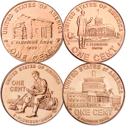 2009 Lincoln Head Cent Year Set (4 coins), Uncirculated, MS60
