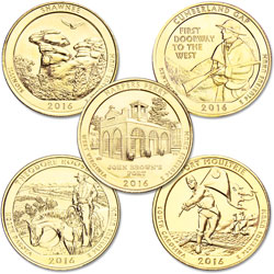 2016 Gold-Plated National Park Quarter Year Set