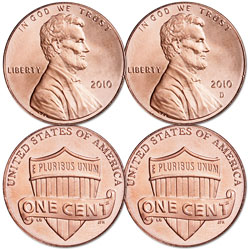 2010 P&D Lincoln Head Cent Set, Uncirculated, MS60
