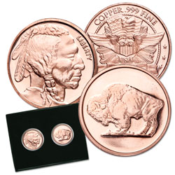 Set of Two 1 oz. Copper Rounds - Buffalo & Indian