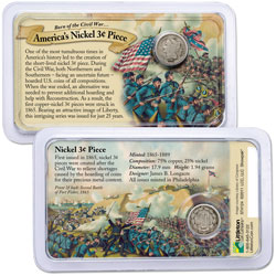 1865-1889 Nickel 3¢ Piece in Civil War Showpak