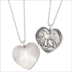 Liberty Walking Half Dollar Heart Pendant