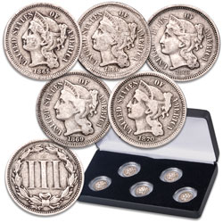 1865-1870 Nickel 3 Cent Piece Set