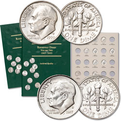 1990-2017 Roosevelt Dime Set with Folders