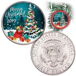 2019 Colorized Kennedy Half Dollar Merry Christmas Ornament