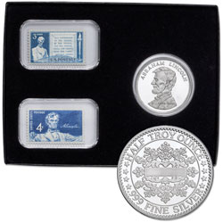 Lincoln 1/2 oz. Silver Round & Mint Stamp Set