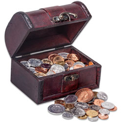 170 Coins from 170 Countries with Treasure Chest