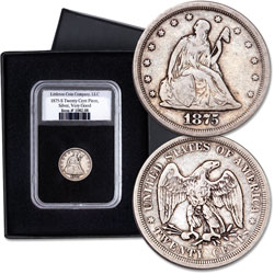 1875-S Twenty Cent Piece in Display Holder