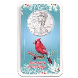 2020 Silver American Eagle in Season's Greetings Showpak