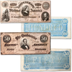 1864 $50 & $100 Confederate Notes