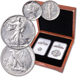 1940 Mercury Dime & Liberty Walking Half Dollar Set in Cherry Wood Case