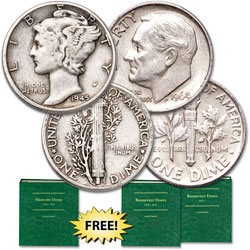 1945 Mercury & 1964 Roosevelt Silver Dime Set with Club Enrollment