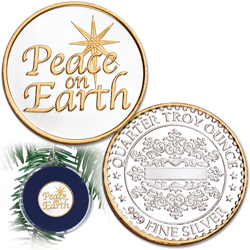 Peace on Earth Silver Round Ornament