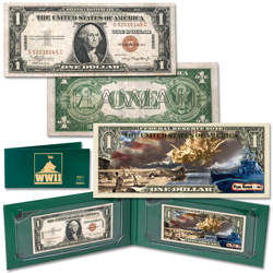 $1 WWII Hawaii Note & Pearl Harbor Colorized Note Set