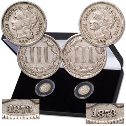 1873 Closed 3 & Open 3 Nickel Three-Cent Piece Set