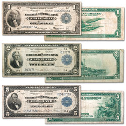 1918 $1, $2 & $5 Federal Reserve Bank Note Set