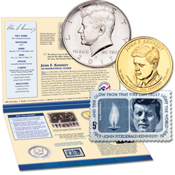 John F. Kennedy Coin and Stamp Tribute Set