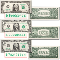 $1 Federal Reserve Note Set - Special Serial Numbers
