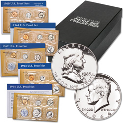 1960-1964 90% Silver Proof Set Collection with Storage Box