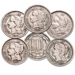 1865-1869 Nickel 3 Cent Piece Set