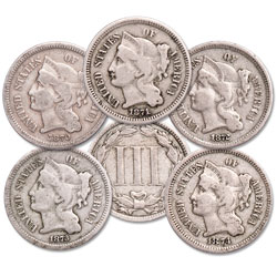 1870-1874 Nickel 3 Cent Piece Set