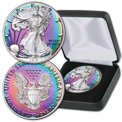 2018 Rainbow Toned $1 Silver American Eagle with Case