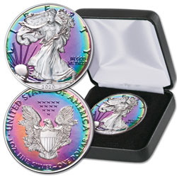 2020 Rainbow Toned $1 Silver American Eagle with Case