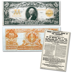 1922 $20 Gold Certificate & Recall Notice