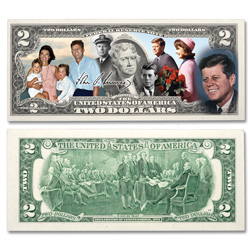 Colorized John F. Kennedy $2 Federal Reserve Note - Life & Legacy