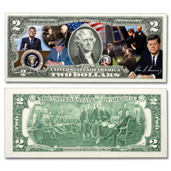 Colorized John F. Kennedy $2 Federal Reserve Note - Achievements
