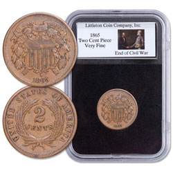 1865 Two Cent Piece in Display Holder