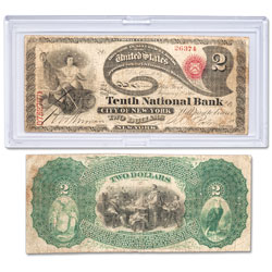 1875 $2 National Bank Note in Holder